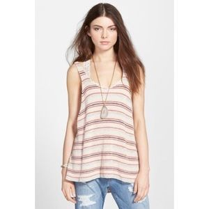 Free People Sz L Sailor Oversized Striped Tank Top